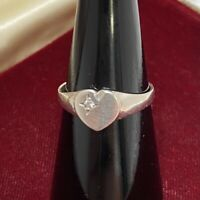 VINTAGE Heart Signet Ring Size N 925 Sterling Silver CZ? Pinky?