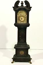 "Exceptionally Fine 15"" ANTIQUE DUTCH CARVED MINIATURE GRANDFATHER CLOCK MODEL"
