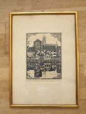 Holzschnitt, Dresdner Künstler, Grafik, Fluss, Landschaft