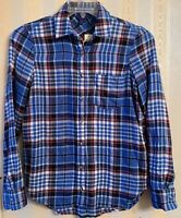 NWT Aeropostale Blue Plaid Flannel Button Front Shirt Long Sleeve Women's Small