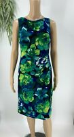 Lauren Ralph Lauren Womens Sheath Dress Size 6 Blue Floral Ruched Stretch Knit