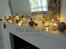 Natural Christmas LED Garland with Pine Cones & Birch Bark Stars, 190cm