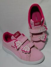 Puma pink leather Smash v2 Butterfly girl's sneakers size 3C very good condition