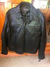 MICHAEL KORS COAT Size Large BROWN Genuine Leather Coat ZIPPER NEW NWT
