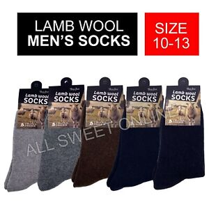 Men's Lamb Wool Socks Winter Business Work Socks Thick 5 Colours Size 10-13