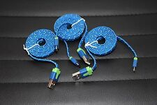3 Lot Micro USB Flat Braided Sync Charge 3-Feet Data Syncing Charging Cable Blue