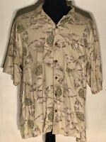 Tommy Bahama Size XL 100% Silk Floral Short Sleeve Button-Front Hawaiian Shirt