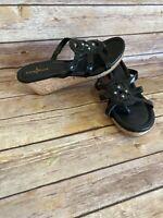 Cole Haan Wedge Heels Sandals Size 7.5 B Womens Black Slip On Shoes Open Toe