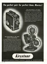 1948 KEYSTONE K-40 8mm Movie Camera, K-108 Projector Vintage Print Ad
