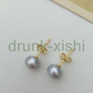 Gorgeous 8-9mm South Sea Gray Pearl Earring 14k Yellow Gold P Stud