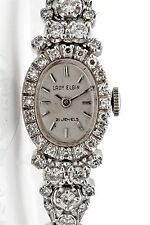 Vintage 1950s Lady Elgin 2ct VS G Diamond 21j 14k White Gold Ladies Watch WTY
