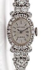 Vintage 1950s Lady Elgin 2ct VS G Diamond 21j 14k White Gold Ladies Watch WTY