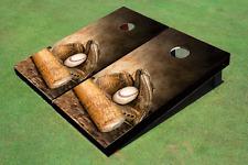 00004000 Custom Baseball Glove & Bat Custom Cornhole Board
