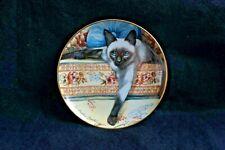Blue Eyes Siamese Cats Collector Plate Daphne Baxter Franklin Mint Porcelain Coa