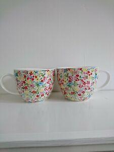 2 LARGE PRIMROSE DESIGN FINE CHINA CAPPUCCINO/HOT CHOCOLATE/SOUP CUPS/MUGS B.N