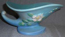 1940s Roseville Pottery WHITE ROSE PATTERN Cornucopia Vase w/Flower Frog