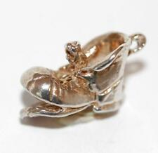 Mouse Playing On Boot Sterling Silver Vintage Bracelet Charm With Gift Box 2.9g
