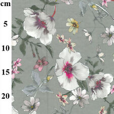 Grey White Pink Floral Louden Cotton Lawn Dress Fabric by the metre