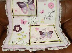NEW Lambs & Ivy Butterfly Bloom Baby Girl Purple Nursery Comforter Quilt Blanket