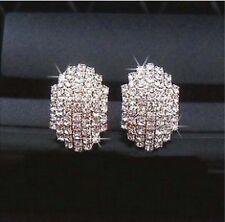 1 Paar Glitzer Ohrstecker Ohrringe Silber Weiß voll Strass Oval Steine 087