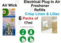 Air Wick 6 x 17ml Electrical Plug In Air Freshener Refill- Crisp Linen & Lillac