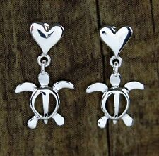 Hawaii Jewelry 925 Sterling Silver Honu Turtles Heart Post Stud Earrings SE24701