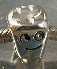 925 STERLING SILVER HAPPY TOOTH European slide on CHARM BEAD