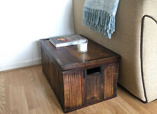 VINTAGE WOODEN & BAMBOO TRUNK CHEST BLANKET BOX  OLD STORAGE TOY BOX SIDE TABLE