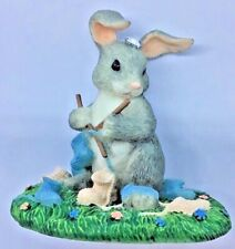 Retired Charming Tails Figurine Guess What! Mommy Bunny Knitting Baby Booties