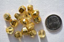 (15) Czech Glass Beads Fire-Polished 8mm 2-cut - Transparent Gold 8FP2C-TG