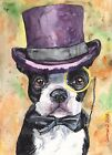 Boston terrier watercolor Print of the Original Watercolor Painting art dog funn