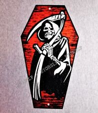 COFFIN SHAPED Metal Sign GRIM REAPER macabre death horror evil wicked dead dying