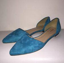 J Crew $158 Suede d'Orsay Flats Womens Shoes Sz 10.5 #c0445 Vivid Cerulean GONE!
