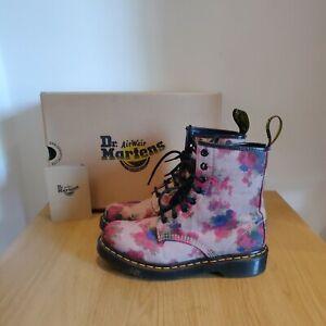 Dr Martens 1460 Castel Victorian Flowers Floral Beige Pink Boots Size UK 4 NEW