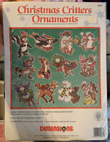 1991 Dimensions CHRISTMAS CRITTERS Needlepoint Perforated Canvas Ornament Kit