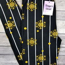 Snowflake Leggings Black Gold Pinstripe Buttery Soft ONE SIZE OS