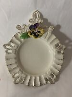Vintage Decorative Wall Plate White w/Gold 3D Violet Flower Keyhole Border