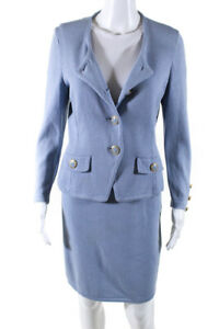 St. John Collection By Marie Gray Womens Knit Skirt Blazer Suit Blue Size 6