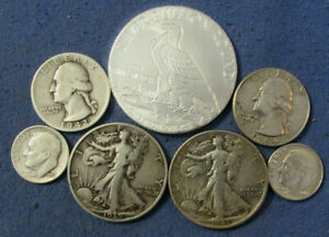 LOT 6 US SILVER COINS & 1 OZ .999 EAGLE & INDIAN CHIEF ROUND 1939 1943 HALF $