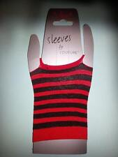 Black/Red Striped/Stripy Short Mesh Fingerless Gloves Emo/Goth/Punk/Harley Quinn