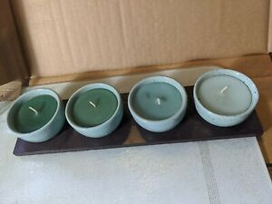 4x Candle in glass holder- green