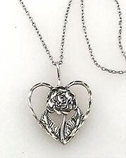 Vintage .925 Sterling Silver Diamond Cut Floral Open Heart Pendant Necklace
