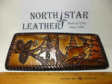 North Star Running Buck/Pine Cones Genuine Leather Laced Wallet-Made In The USA.