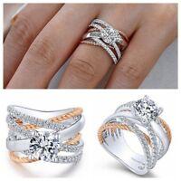 Fashion Women Shiny 925 Silver Plated White Topaz Ring Wedding Jewelry Sz 6-10