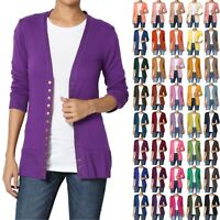 TheMogan Women & Plus Classic Snap Button Front V-Neck 3/4 Sleeve Knit Cardigan