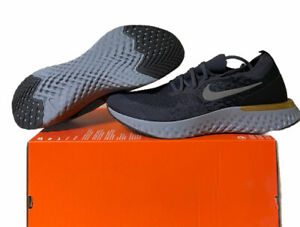 Nike Epic React Flyknit Running Shoes Gold Thunder Grey AQ0067 009 Size 12 NoLid