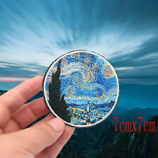 Painting The Star Night Embroidery Iron On Patches For Clothes Armband Stickers