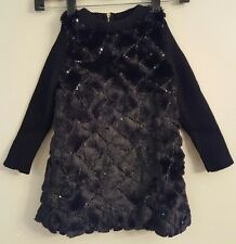 NWT FABULOUS FURS Girl's Faux Fur Sequin Dress XXS (2-3 Year Old) Black #16894
