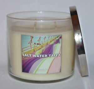 NEW BATH & BODY WORKS SALT WATER TAFFY CANDLE 3 WICK 14.5 OZ LARGE CANDY VANILLA