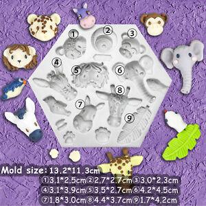 3D Animal Silicone Fondant Mould Cake Elephant Giraffe Monkey Heads Baking Mold